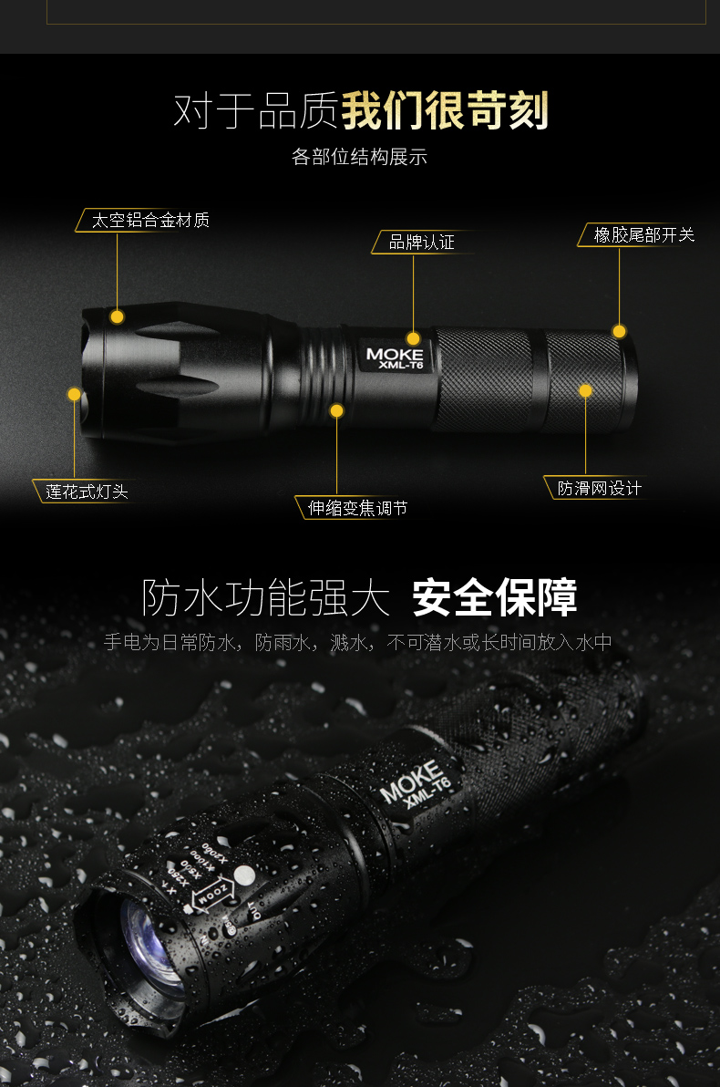 夜骑自行车灯车前灯充电强光手电筒登山车灯骑行装备配件详细照片