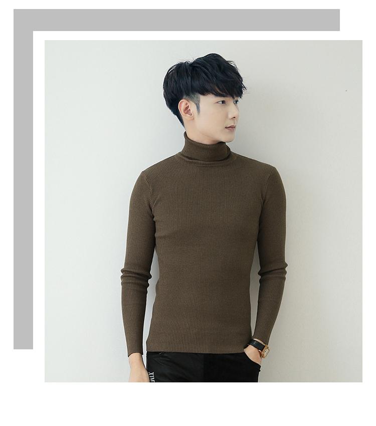 Mùa thu và mùa đông cơ sở áo len cao cổ áo len nam Hàn Quốc phiên bản của xu hướng của sinh viên phong cách Harajuku Slim cá tính áo len nam dài cổ áo
