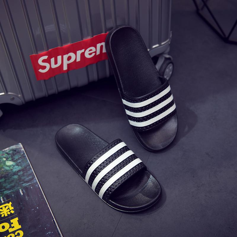 夏天拖鞋男潮男女一字拖室内外情侣塑料凉拖鞋防滑三杆条纹沙滩鞋