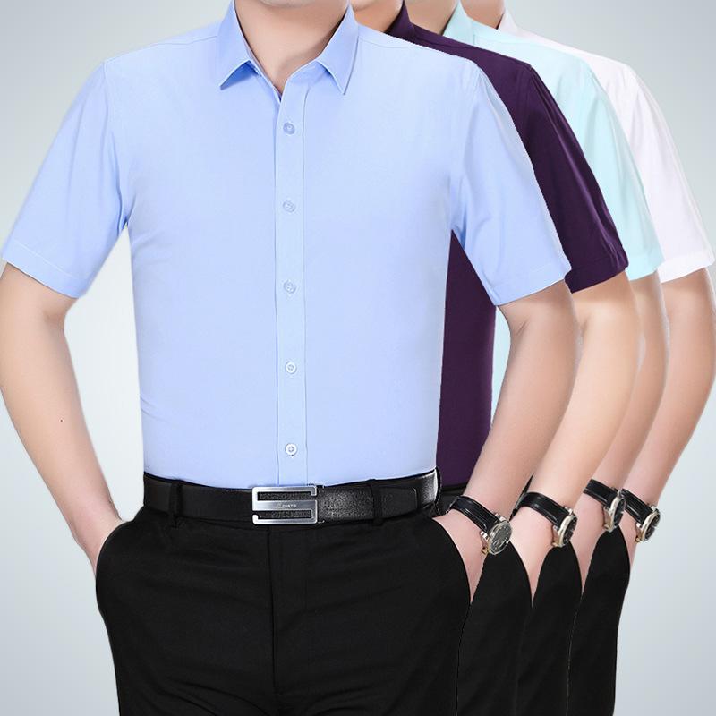 衬衣商务男款短袖男士白衬衫工作服职业装中年新款夏季19免烫