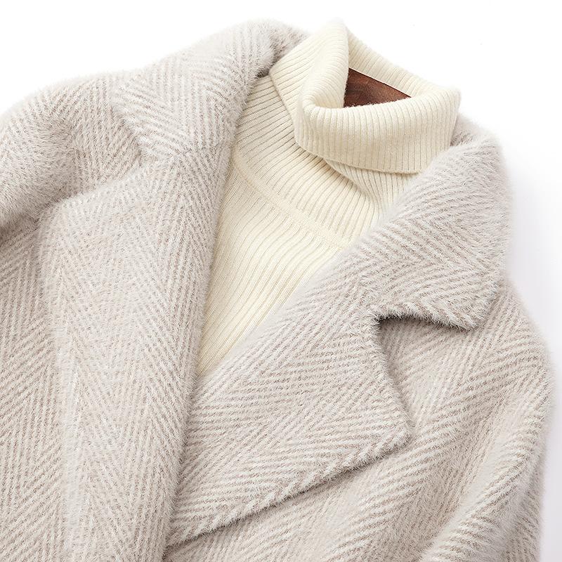 反季毛呢外套女中长款水貂绒2019新款赫本小个子黄金貂绒呢子大衣