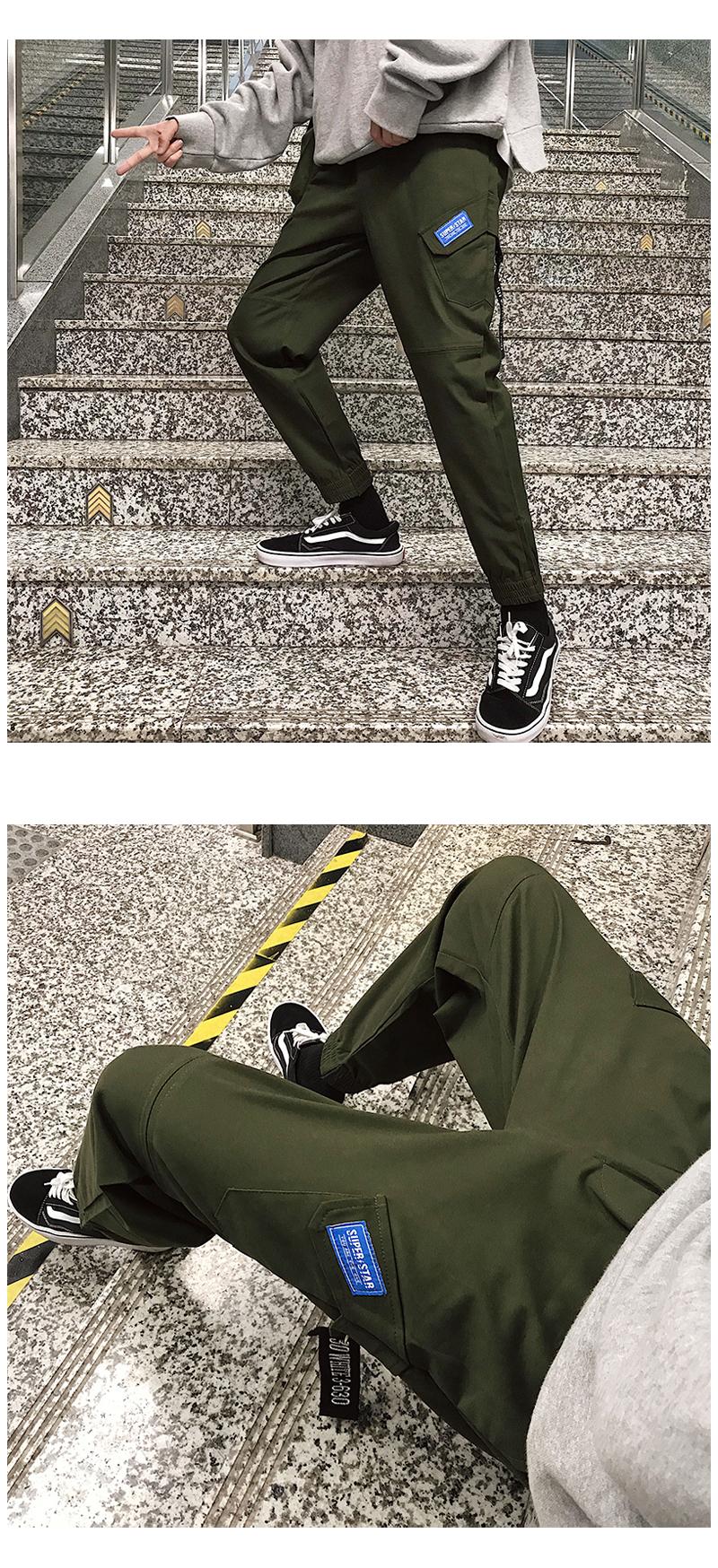 2020春装新款韩版chic工装裤束脚哈伦裤九分裤休闲裤 XX03 p35