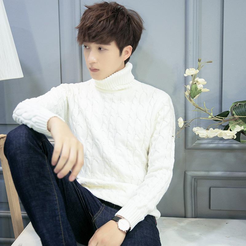 冬季纯色加厚保暖男高领毛衣打底衫