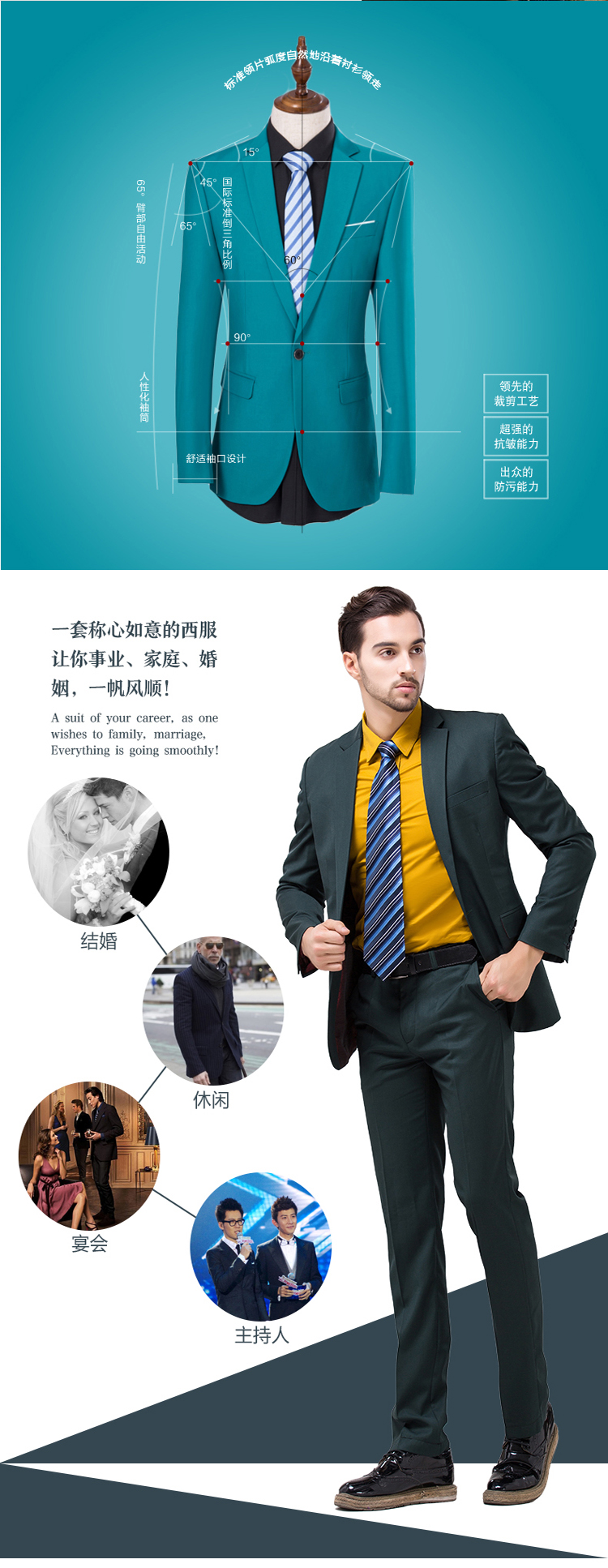 Men Slim Fit Business Suit Set / Wedding Groom Suits – Zambia China ...