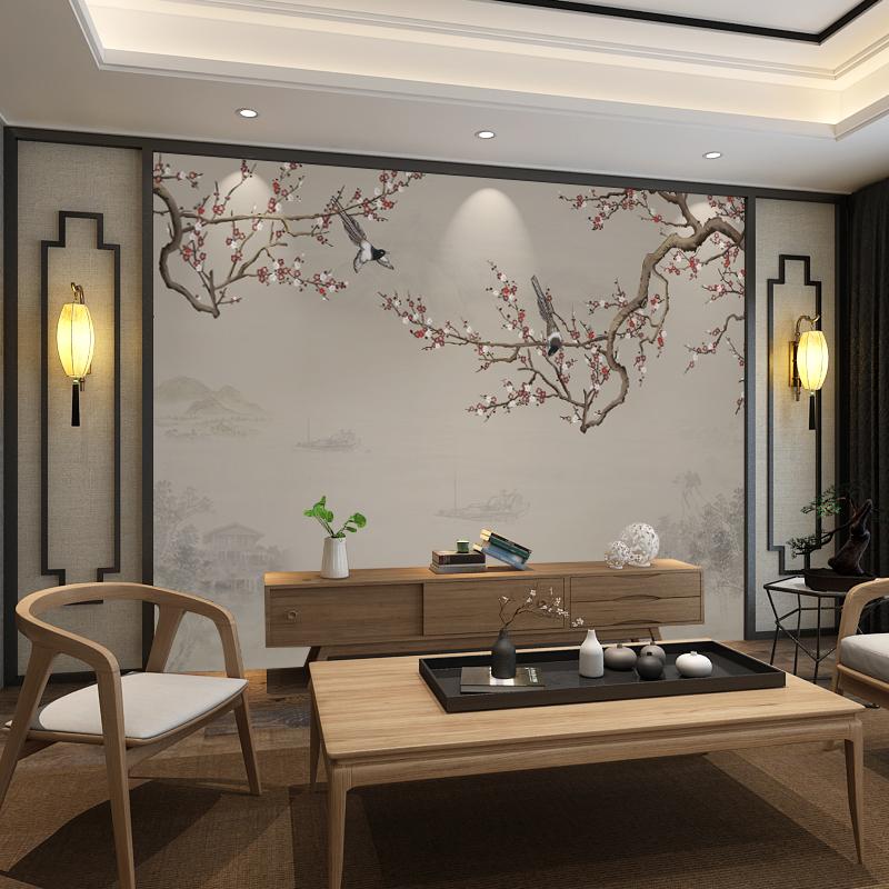 新中式墙纸壁画墙电视现代简约3d装饰花鸟客厅影视8d墙布背景壁纸