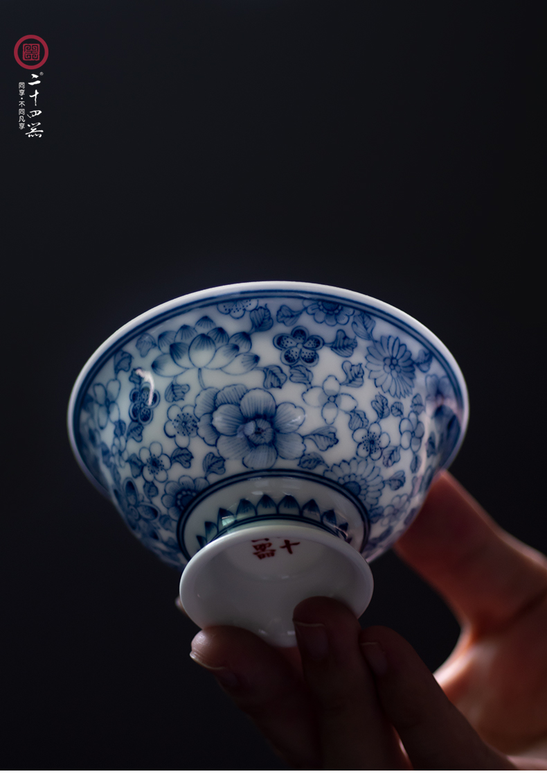 Kombucha tea cup a single master cup small ceramic single CPU hand - sketching jingdezhen blue and white porcelain tea set large sample tea cup