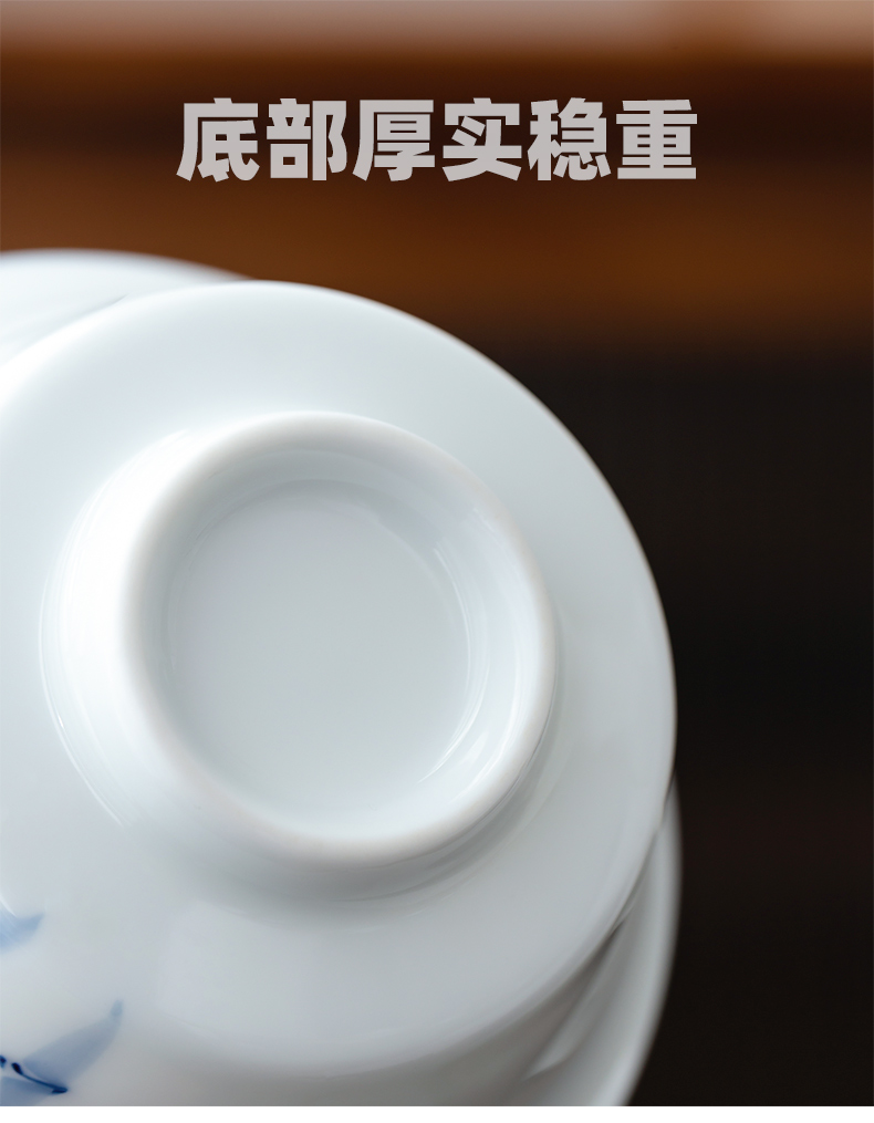 Sweet white porcelain hand - made only three tureen large single kung fu tea cup bowl of jingdezhen ceramic tea set three fort