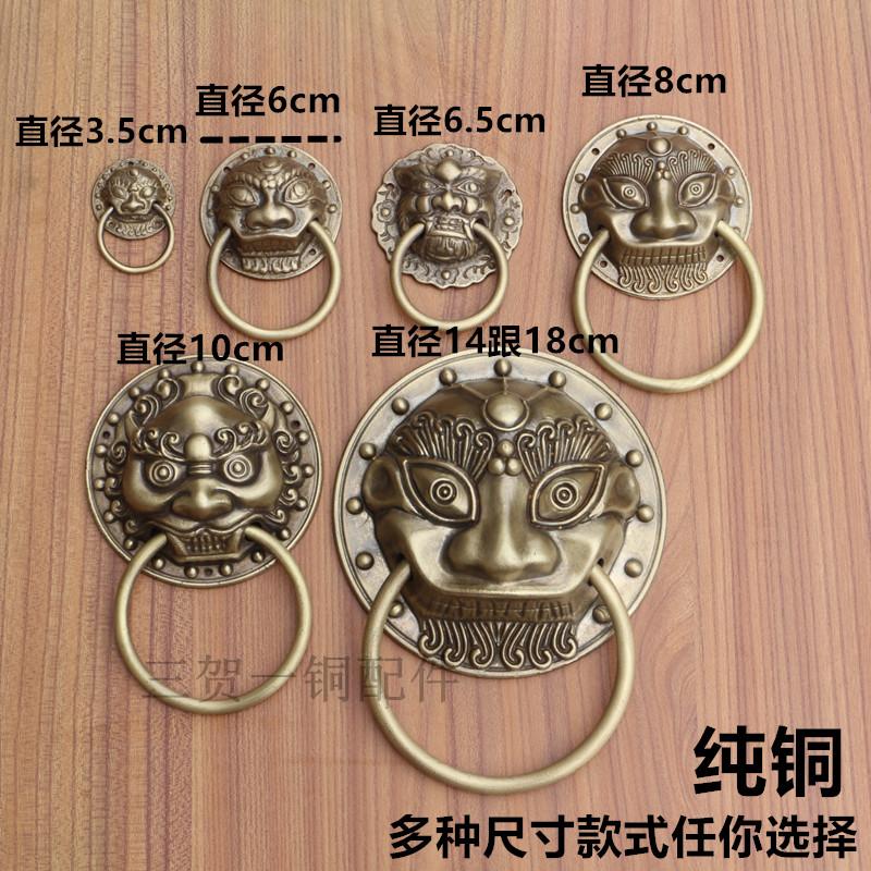 中式仿古门环大门狮子头纯铜拉手兽头老虎头门把手抽屉柜门小拉环