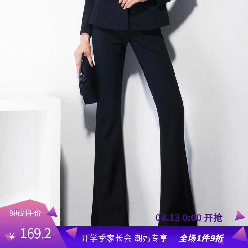 夏莫卡黑色喇叭裤弹力显瘦微喇叭裤韩版高腰纯色休闲长裤女K574