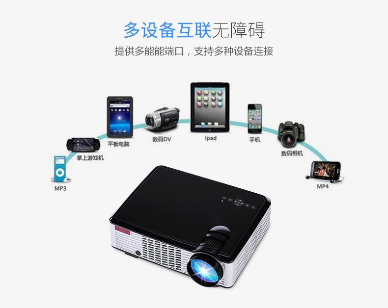 200寸只卖238元.投影仪投影机家用办公高清1080p无线wifi手机3D微型智能.家庭影院必备