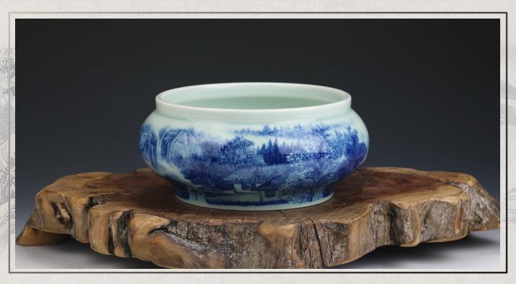 贵和祥京德珍藏陶瓷水洗杯洗茶道配件景德镇工艺釉中彩山水大茶洗