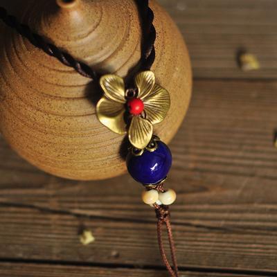 新品民族风陶瓷项链女 长款毛衣链简约气质精美陶瓷礼物送生日