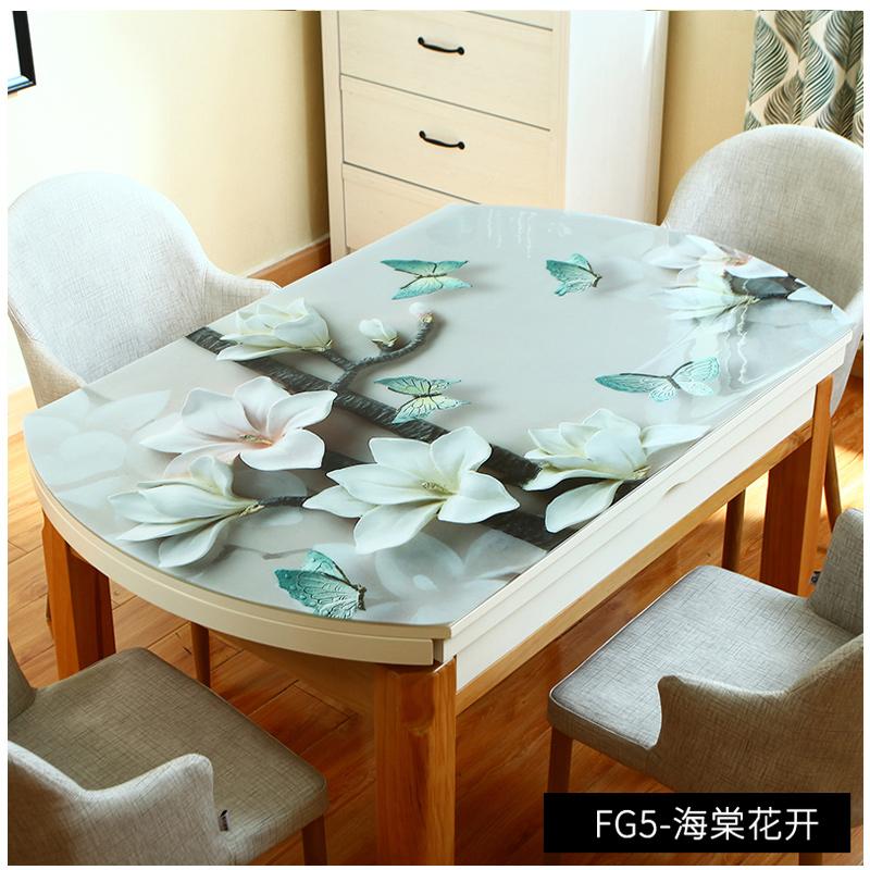 复古软pvc玻璃板桌布防水防烫免洗椭圆长方形家用餐桌垫水晶板