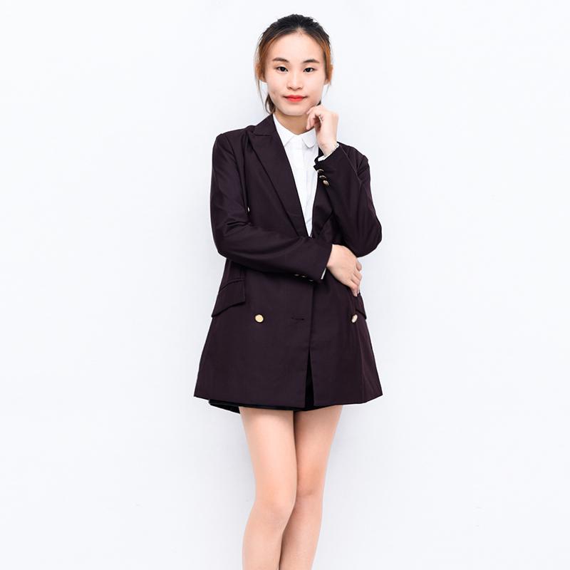 Áo khoác dạ mùa thu thời trang quần áo nữ KF8053 giản dị Anh mặc áo yếm đôi ngực mỏng - Áo khoác ngắn