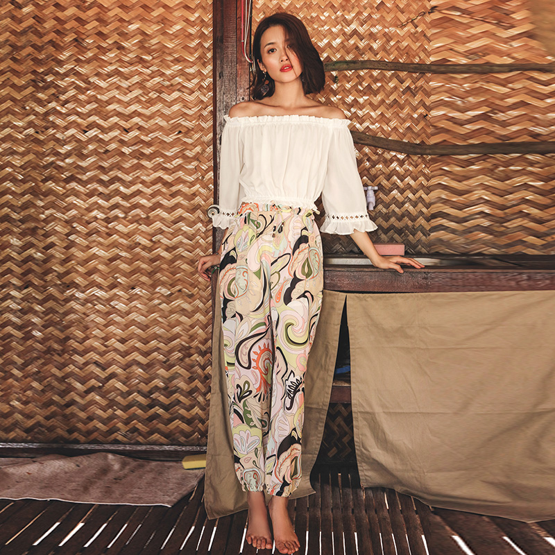 0289d3d8cb Beach pants female nine points trousers bohemian chiffon flowers ...