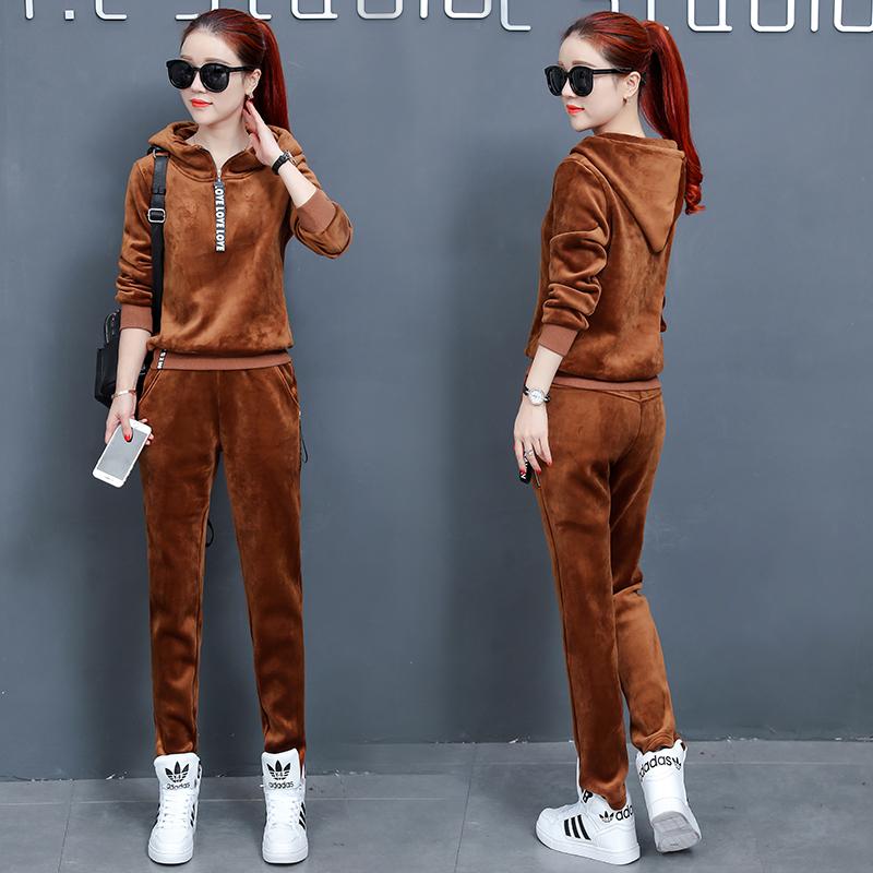 2017冬季新款时尚卫衣两件套金丝绒休闲加绒加厚运动套装女秋冬款