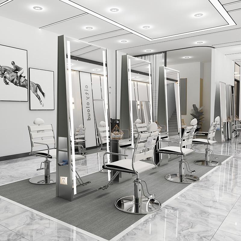 理发店镜台网红美发店镜子发廊专用带灯落地镜单面双面镜潮款包邮