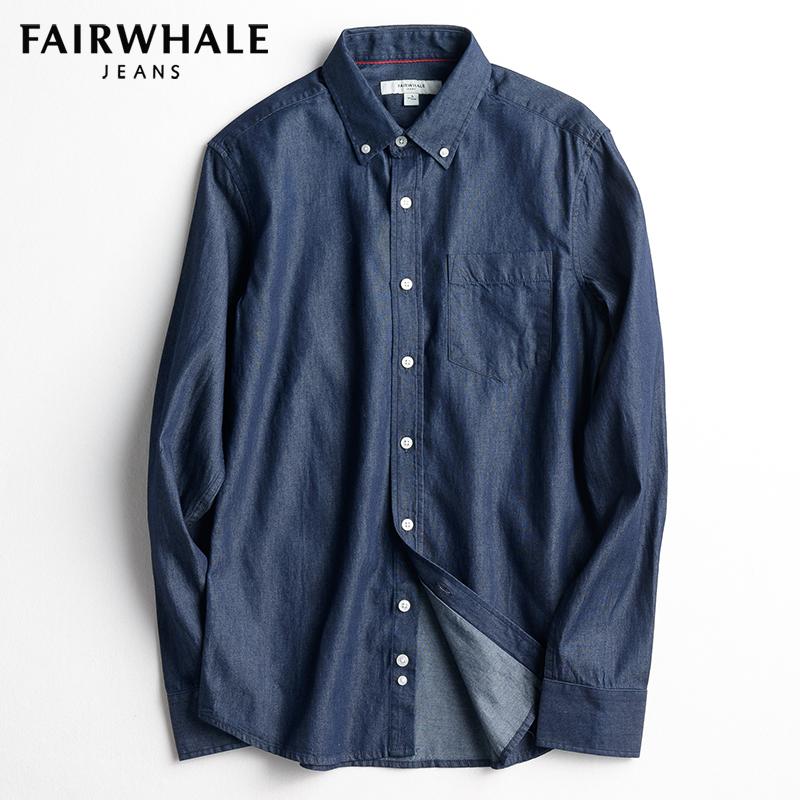 马克华菲长袖衬衫2018春装新款男士韩版简约修身纯色水洗牛仔衬衣