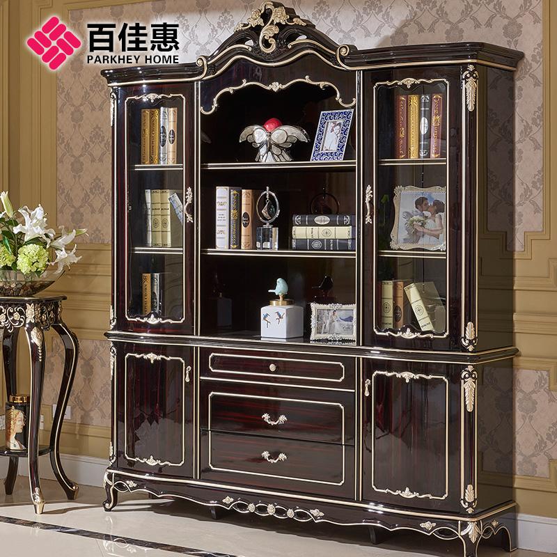 百佳惠歐式書柜實木書櫥儲物柜單個整體四門書柜書房家具80264