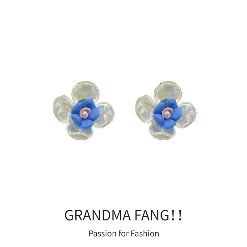方奶奶 S925银针 蓝白色花朵耳钉新款小巧撞色小清新耳环精致耳饰(S925银针小清新蓝白色花朵耳钉)