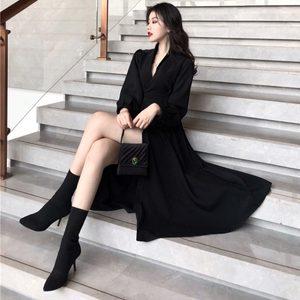 春季女装新款复古时尚黑色V领连衣裙气质修身中长款两穿风衣外套