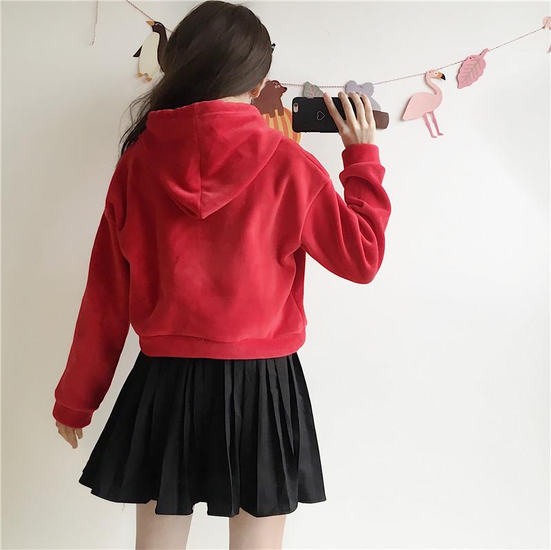 Autumn and winter new women's Japanese soft sister plus velvet thick velvet sweater loose short hood hooded jacket coat