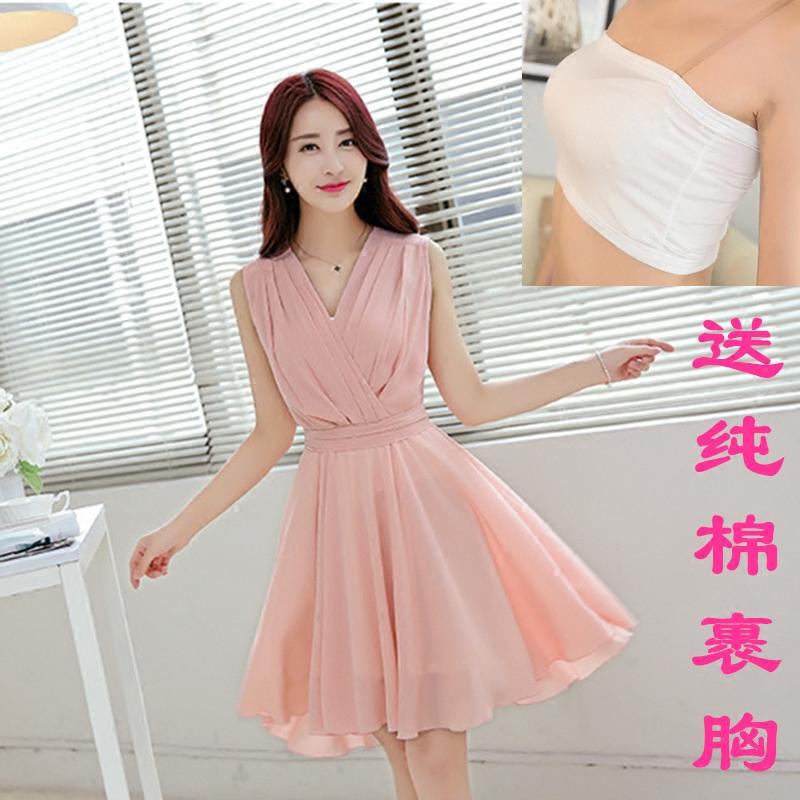 新款2019韩版夏季修身女装雪纺连衣裙大码V领无袖仙女小清新摆裙
