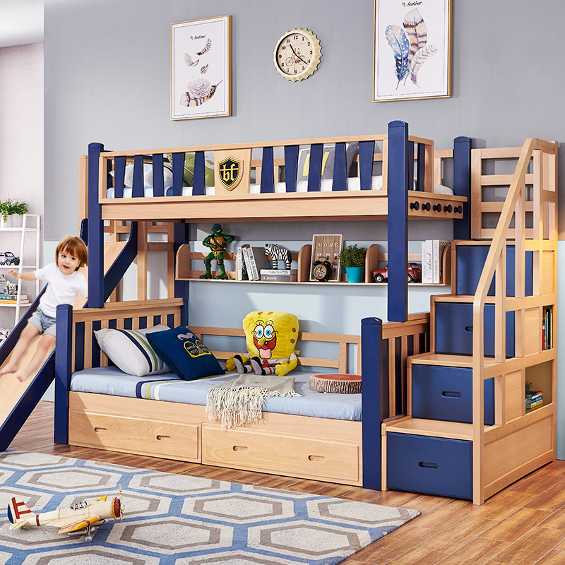 Buy All Solid Wood Slide Up And Down The Bed High Box Storage Multi Functional Mother Child Bed Adult High And Low Bed Children Double Bed Beech Online In Kuwait 593071055709