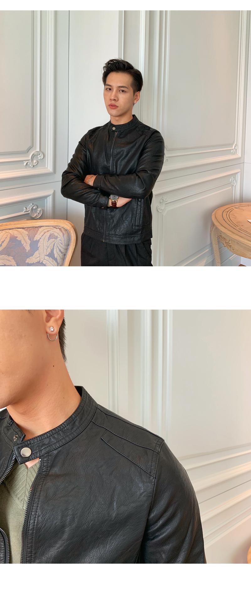 South Korea Korean version handsome collar leather jacket men's retro personality PU leather clothing fashion 100 locomotive leather fashion tide 55 Online shopping Bangladesh