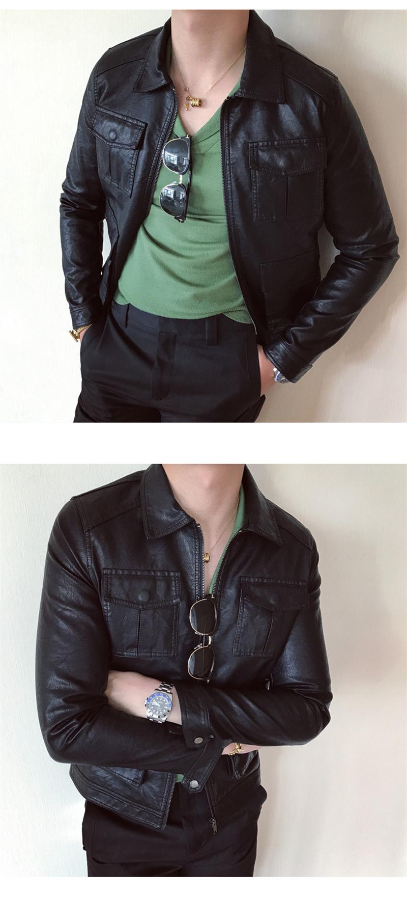 South Korea Korean version handsome collar leather jacket men's retro personality PU leather clothing fashion 100 locomotive leather fashion tide 63 Online shopping Bangladesh