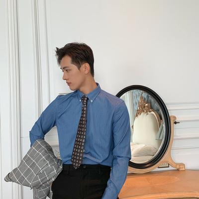 秋季英伦纯色免烫长袖衬衫英伦帅气商务修身衬衣青年男上衣衬衫潮