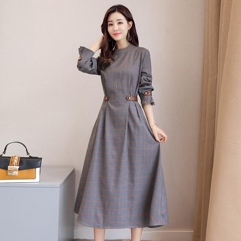Осень длинная модель платье женщины с длинными рукавами бедро сетка 2018 весна новый зрелая женщина талия была тонкий большие качели платье