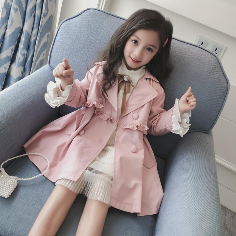 女童外套秋装2019新款韩版儿童外套中大童女孩洋气小公主风衣秋季(非品牌)