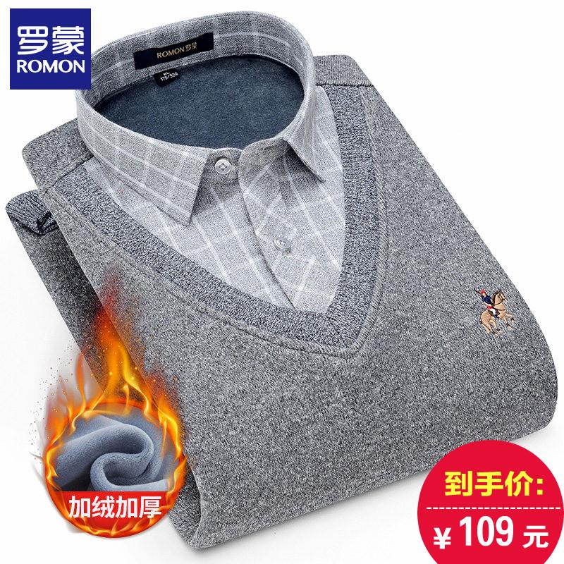男款罗蒙假两件中青年v毛衣毛衣领针织衫冬季加绒加厚衬衫胸标刺绣