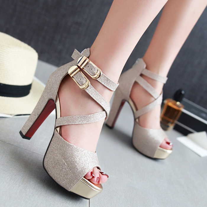 16767ded02a 2018 summer new style high-heeled ladies sandals Korean version of  comfortable thick with waterproof