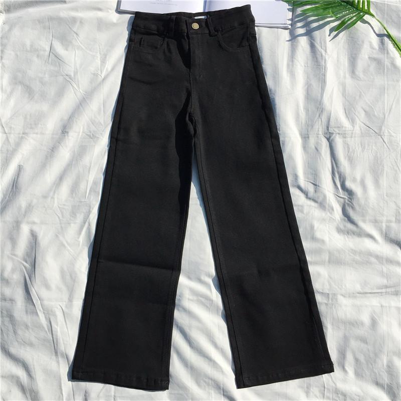 2019春季新款女装穿黑色直筒裤 高腰弹力显瘦9分休闲阔腿裤不起丝