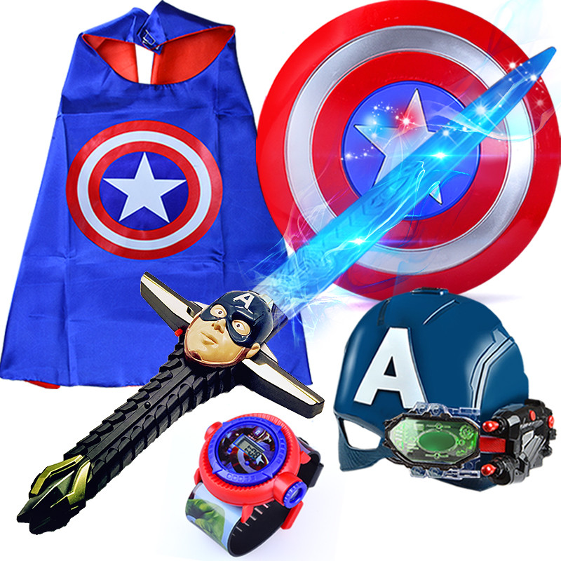Captain America Sound and Light Firing Shield /& Glowing mask /& Satin Cape Boys Toy for Halloween Cosplay GUOWEI Kids Superhero Cosplay Props Set