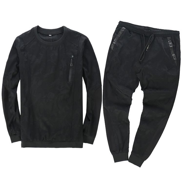 2017秋季新品男士长袖T恤套装韩版潮流运动休闲卫衣两件套潮168