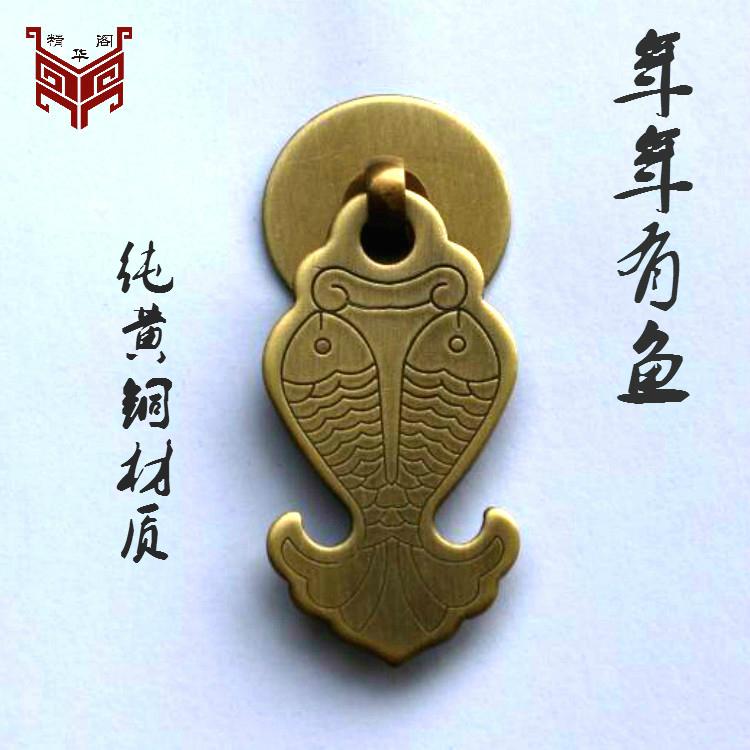 祥云纯铜拉手仿古中式简约云纹把手明装衣柜门加厚橱柜抽屉铜拉手