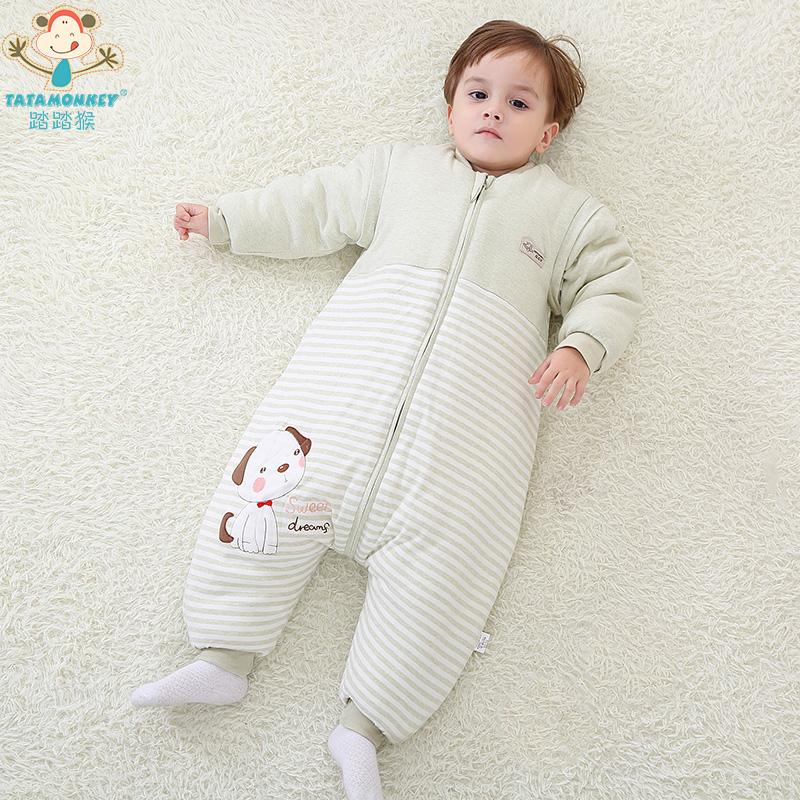 踏踏猴婴儿秋冬加厚彩棉分腿睡袋