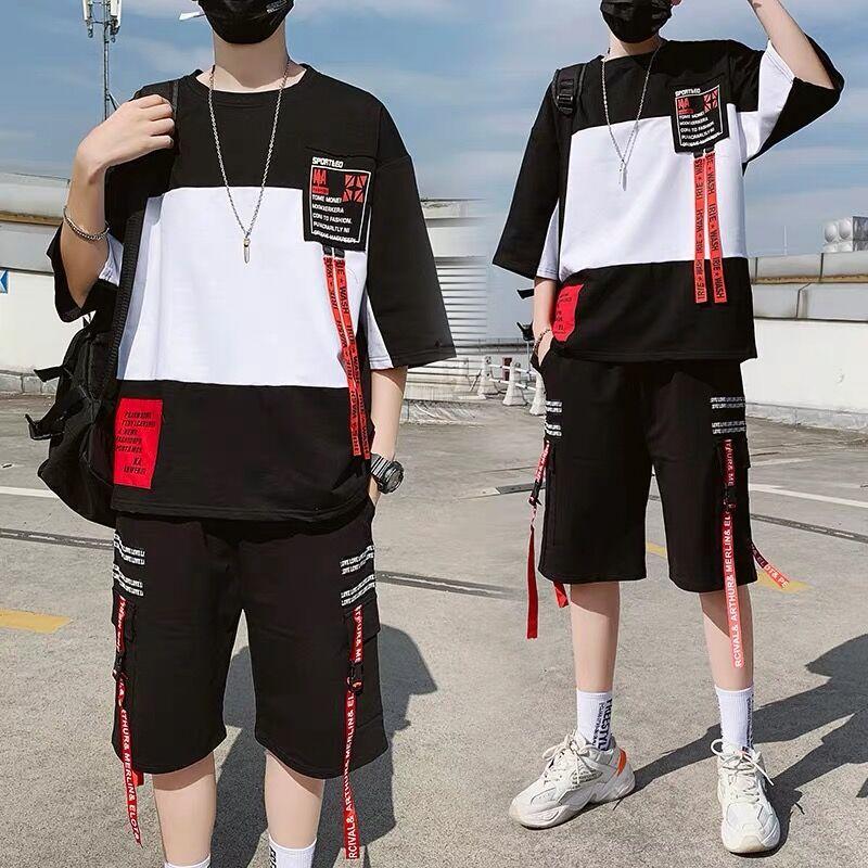 两件套男生套装夏季青少年运动休闲学生韩版潮流短袖短裤一套衣服