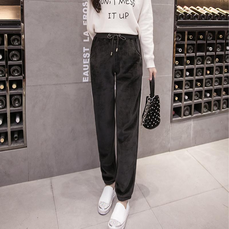 金丝绒运动裤子女士韩版学生宽松显瘦百搭哈伦萝卜秋冬季加绒加厚