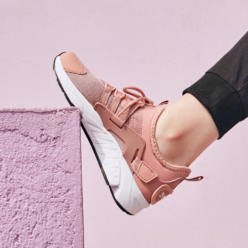 361度少女粉运动气垫跑步鞋,复古旧时光