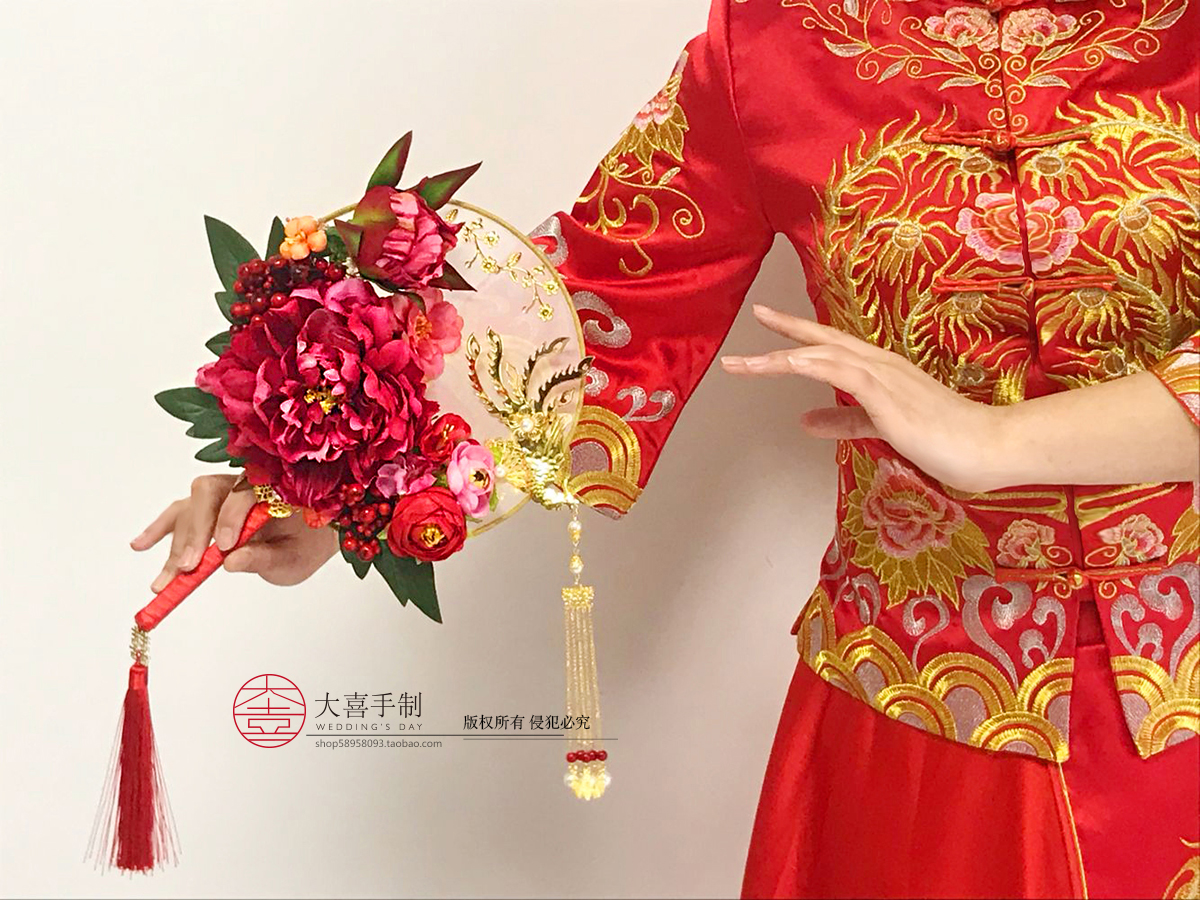 New Chinese wedding hand holding flower fan fan wedding fan wedding fan  bride hand holding flower fan Flower Show wo wedding fan