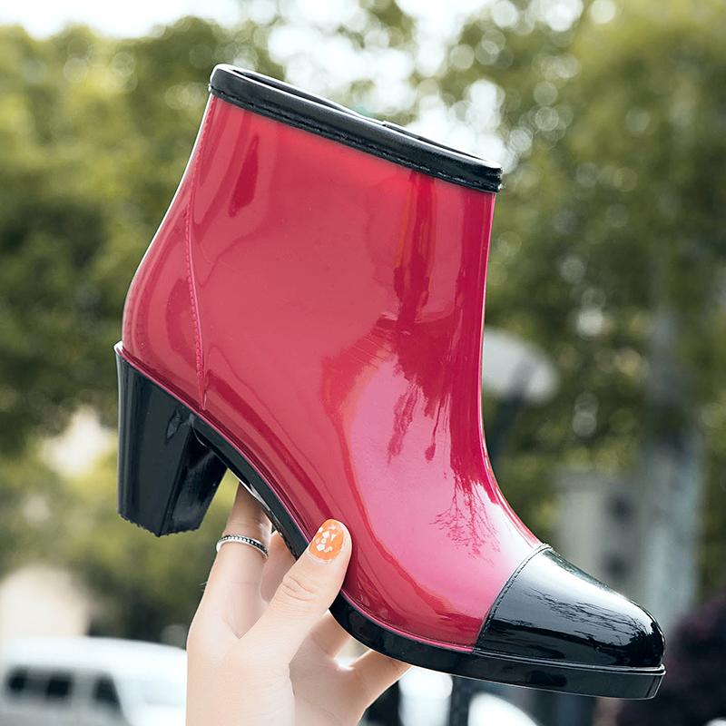 新款水靴女短筒雨鞋学生中筒高跟套鞋雨靴防水拉链水鞋胶鞋时尚