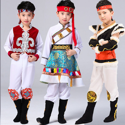Children's minority costumes, boys'Mongolian costumes, Tibetan costumes and dance costumes