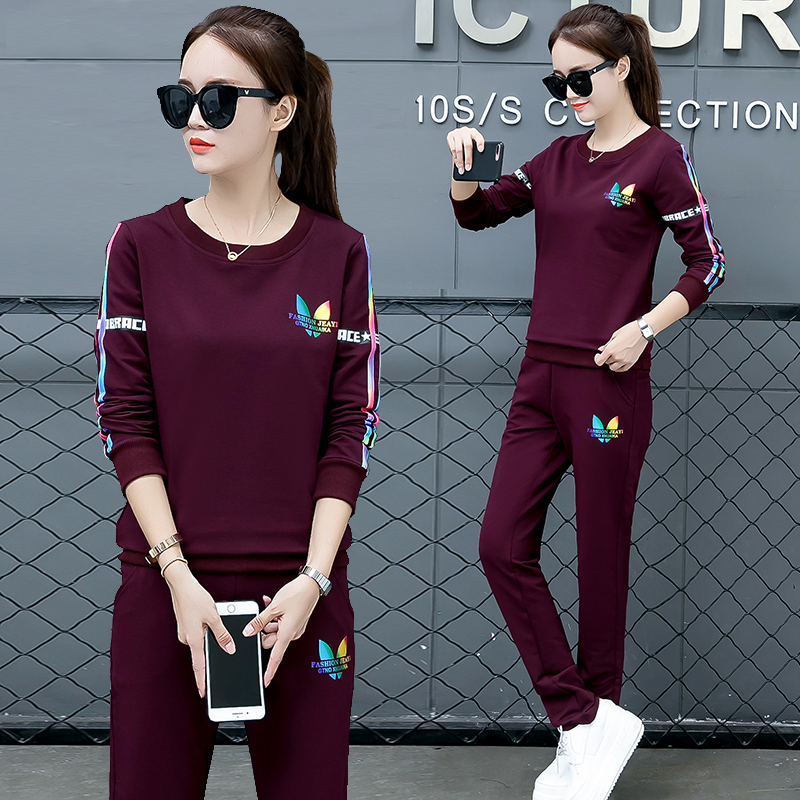 d33e2942e2a Sports suit female spring and autumn 2019 new fashion tide Korean version  of the Loose ladies casual wear long-sleeved sweater two-piece suit
