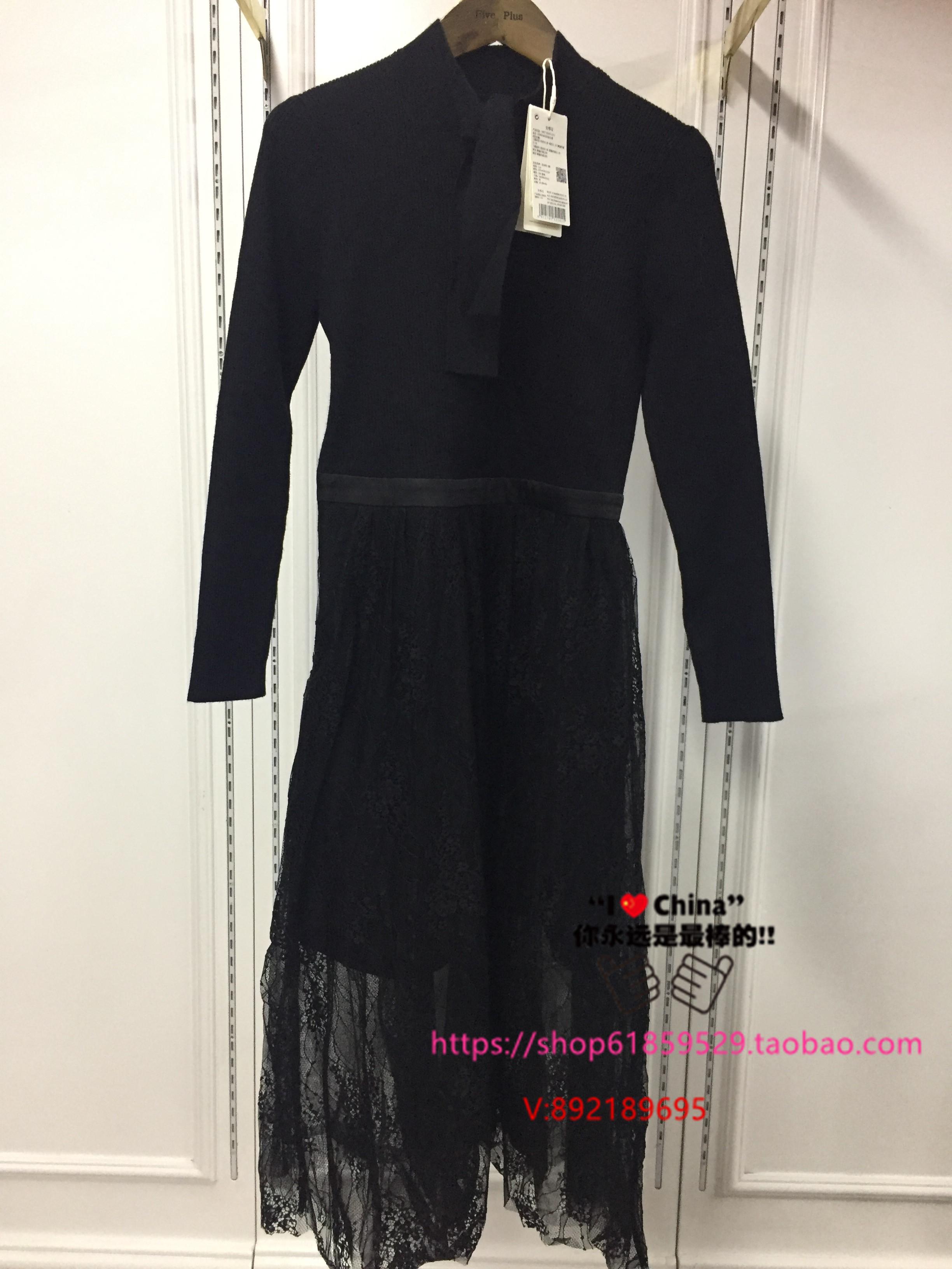 系带55折FivePlus2019冬款现货毛织连衣裙2ZNZN408325011A-699