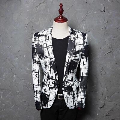 Printed Ink-splashing Dresses Men's Leisure Suit Jacket Photoshop Host Hairstylist's Suit Tide