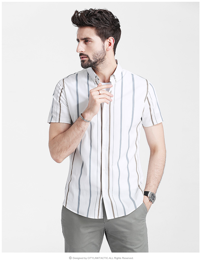 Men's shirt short-sleeved 2020 summer new Korean version slim thin striped inch shirt top trend casual shirt 53 Online shopping Bangladesh